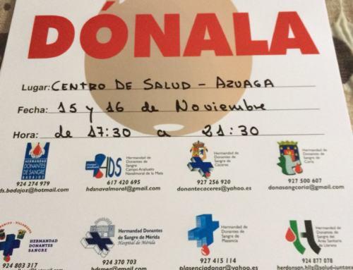 AZUAGA. 15 y 16 nov. DONACIONES DE SANGRE.